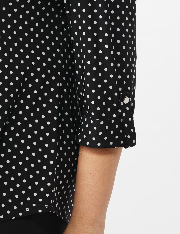 Dot Pintuck Popover - Plus - Black N White - Front