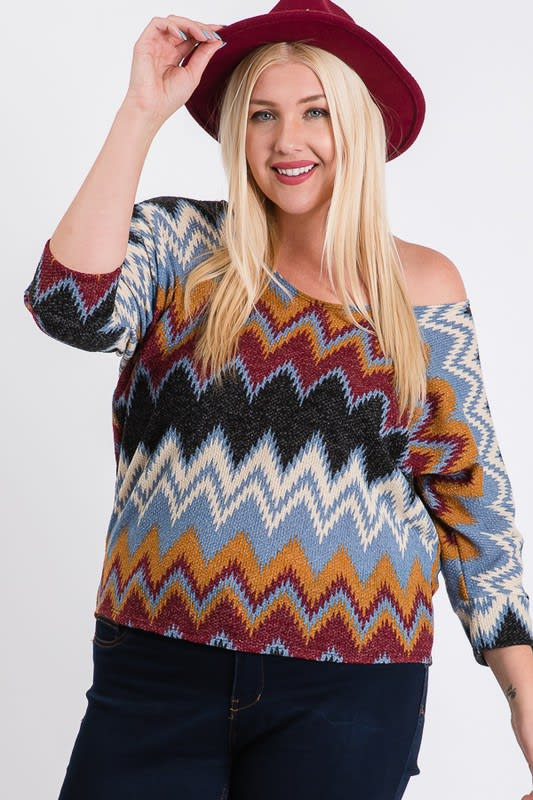 Multi-Colored Basic Shirt - Burgundy - Front