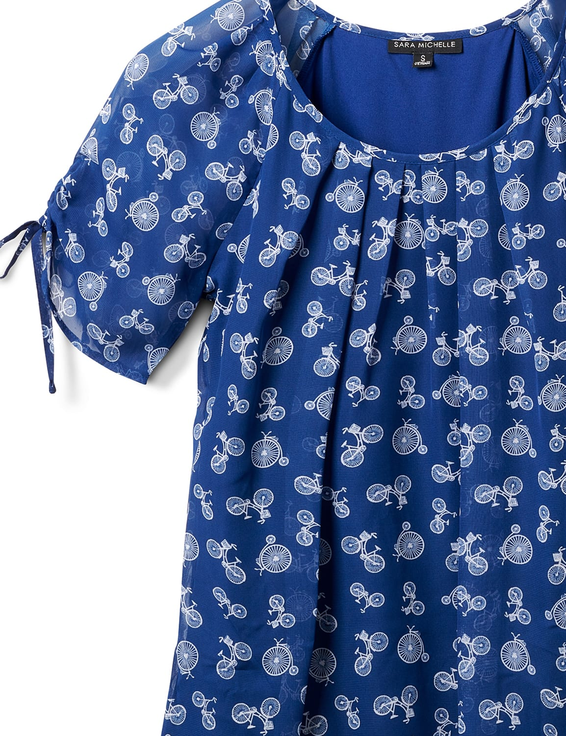 Bicycle Bubble Hem Tie Sleeve Top - Navy/White - Front