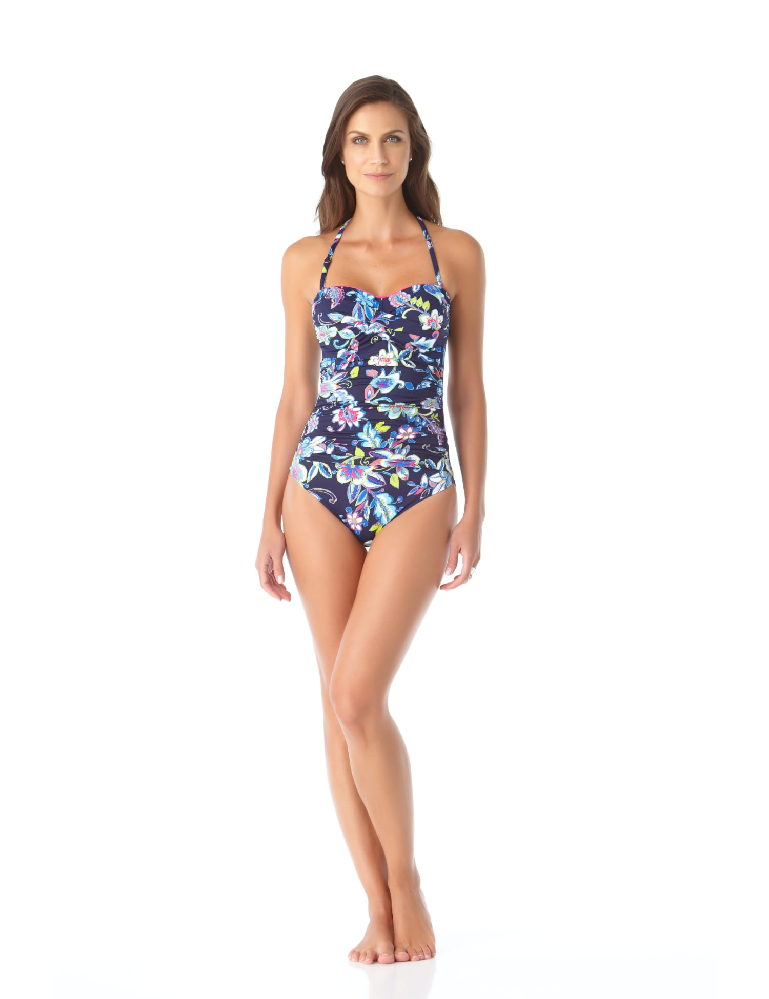 Anne Cole® Holiday Paisley Twist Front One Piece Swimsuit - Misses - Multi - Front