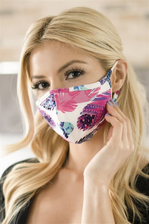 Colorful Feather Fashion Face Mask - Multi - Front