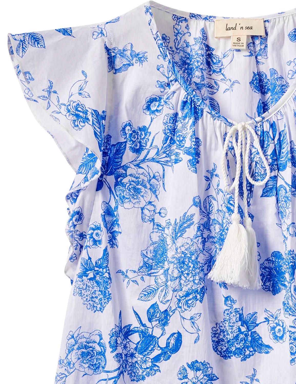 Floral Voile Woven Peasant - Antique Blue - Front