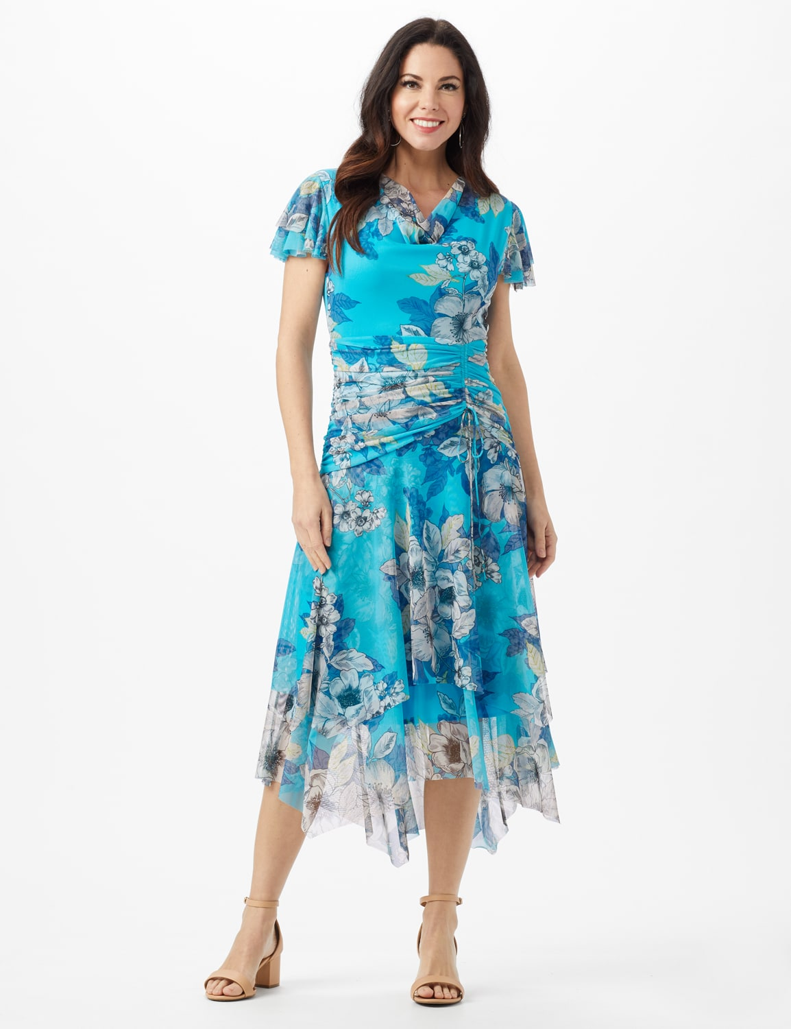 Mesh Floral Drape Neck Gathered Waist with Side Tie - Turq/Sand - Front