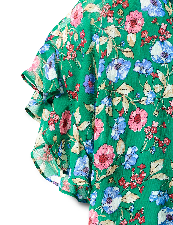 Floral Cold Shoulder Bubble Hem Blouse - Green - Front