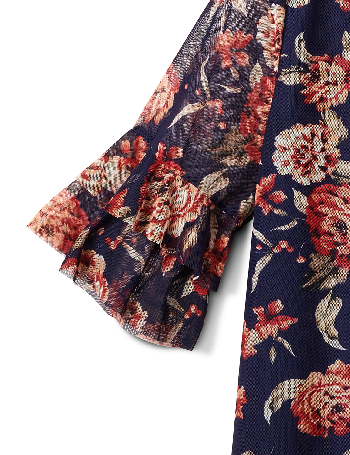 Floral Mesh Ruffle Sleeve Knit Top - Plus - Navy - Front