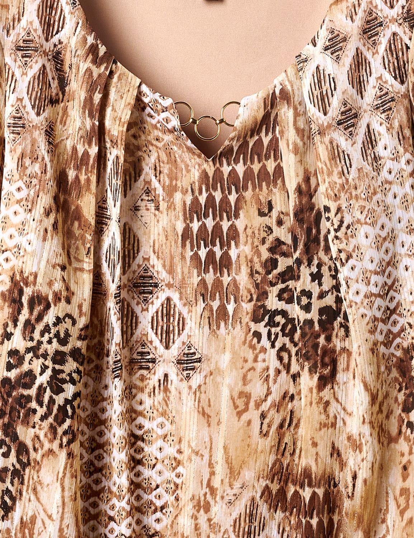 Roz & Ali Animal Print Bubble Hem Blouse - Khaki - Front