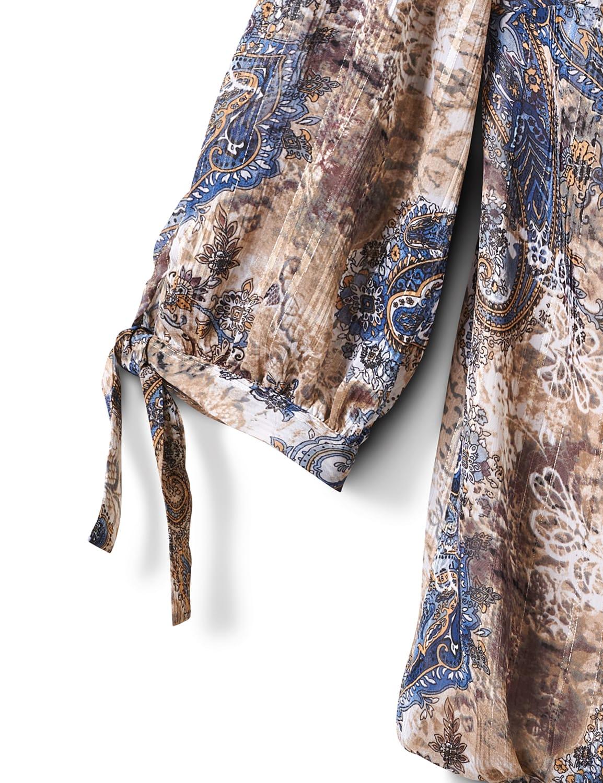 Lurex Tie Sleeve Paisley Bubble Hem Blouse - Plus - Taupe/Blue - Front