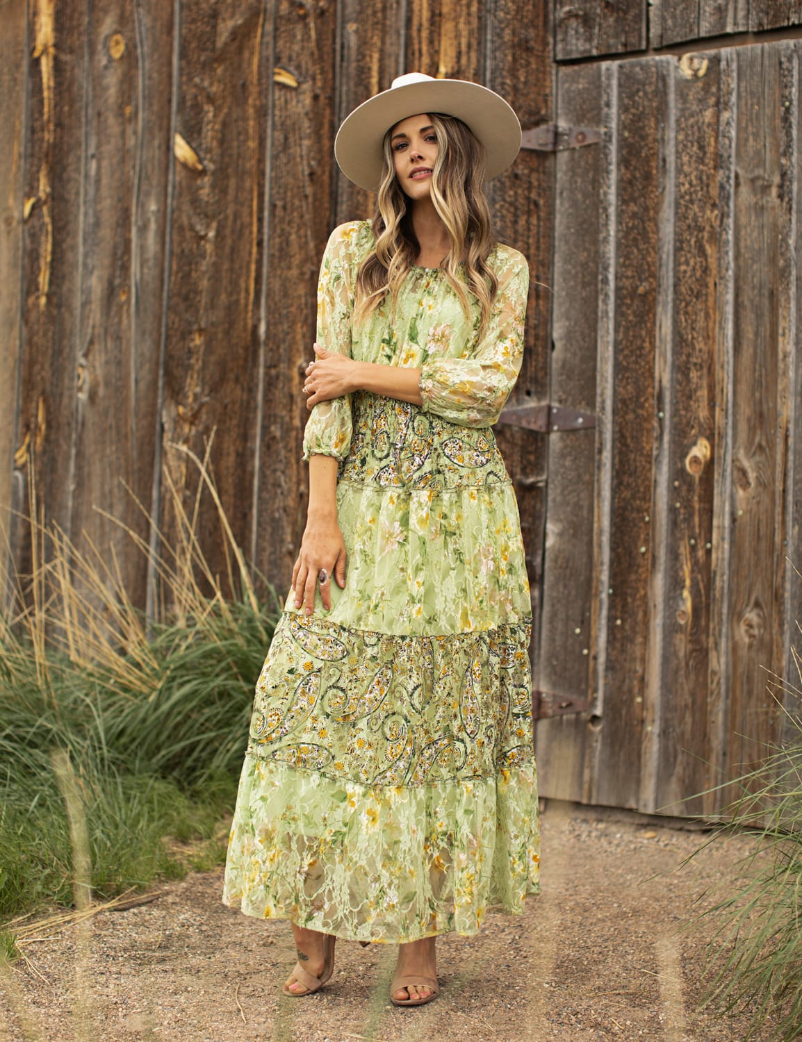 Printed Lace Tiered Maxi Dress - green - Front