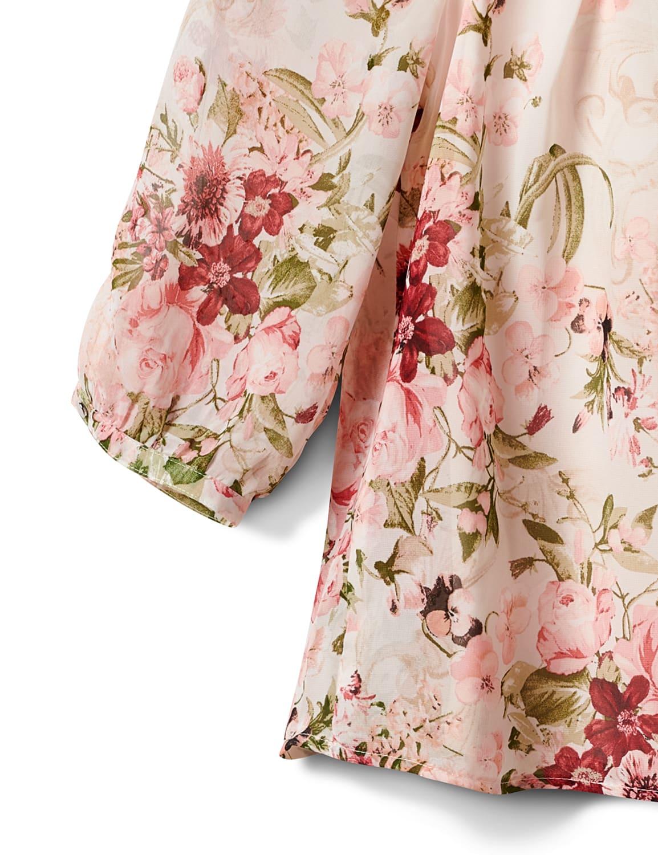 Petite Floral Border Pleated Blouse - Tan/Mauve - Front