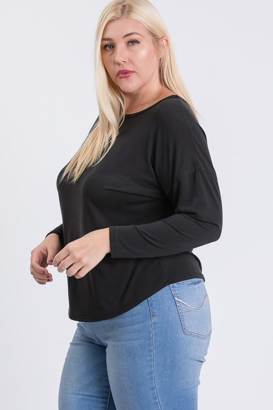 Daily Use Cupro Jersey Top - Black - Front