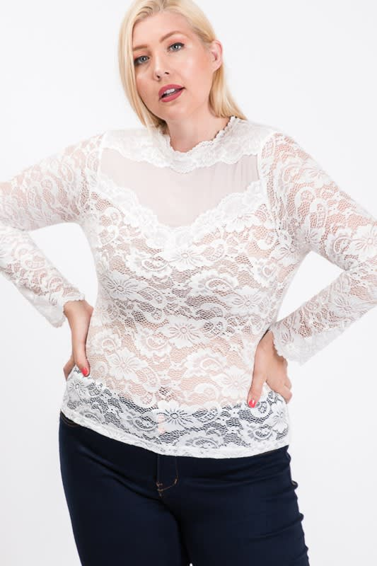 Outgoing Lace Top - White - Front