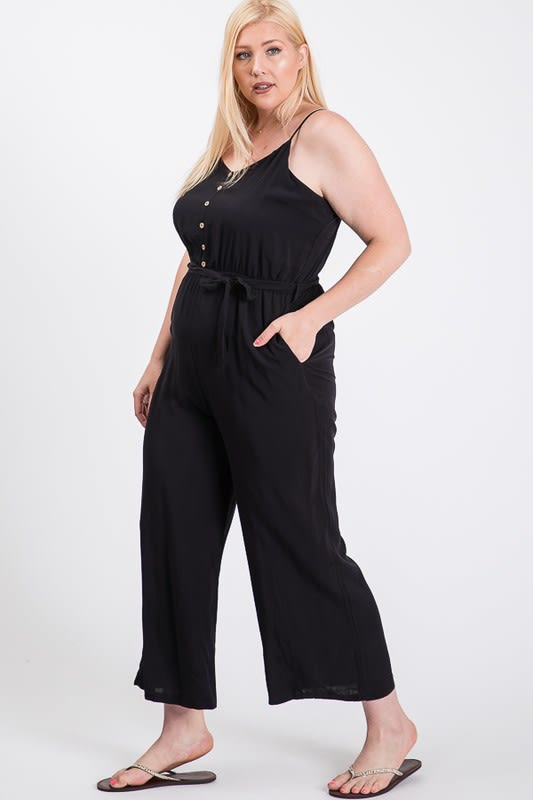 Summertime Poly Linen Jumpsuit - Black - Front