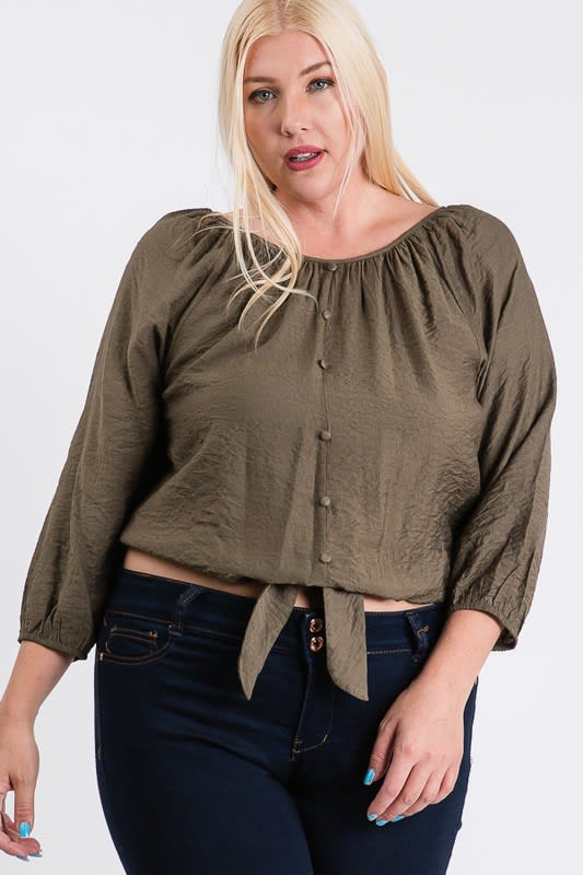 Shirred Top W/ Bottom Tie - Olive - Front