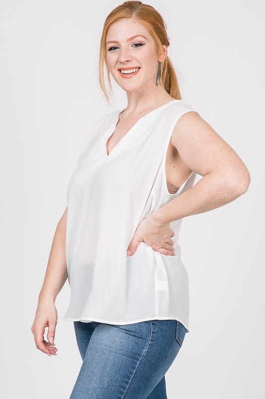 Plain Pintuck Top - White - Front