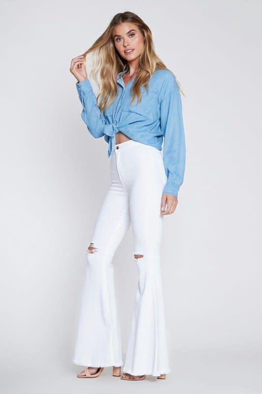 White Distressed Flare Jeans - White - Front