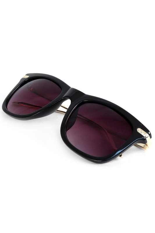 Black Rectangle Sunglasses - Black - Front
