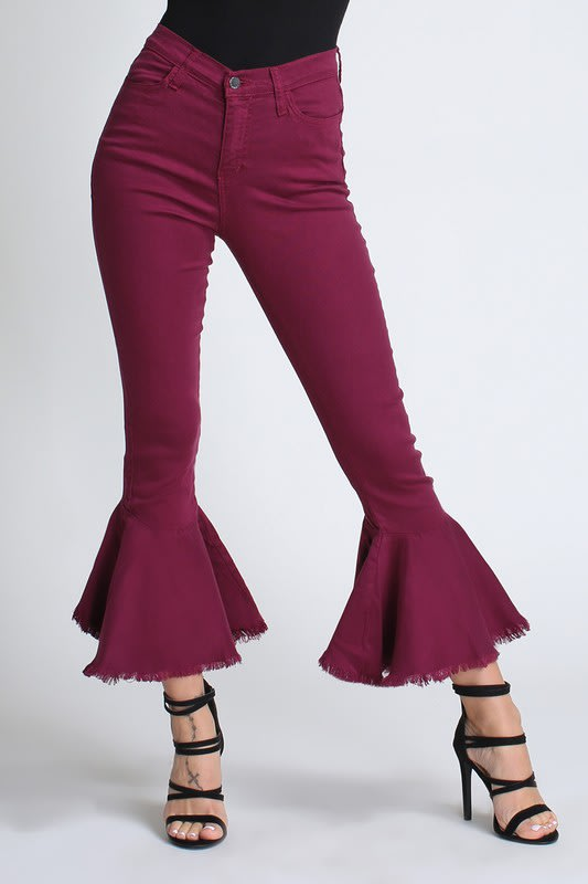 Burgundy Ruffle Bell-Bottom Jeans - Burgundy - Front