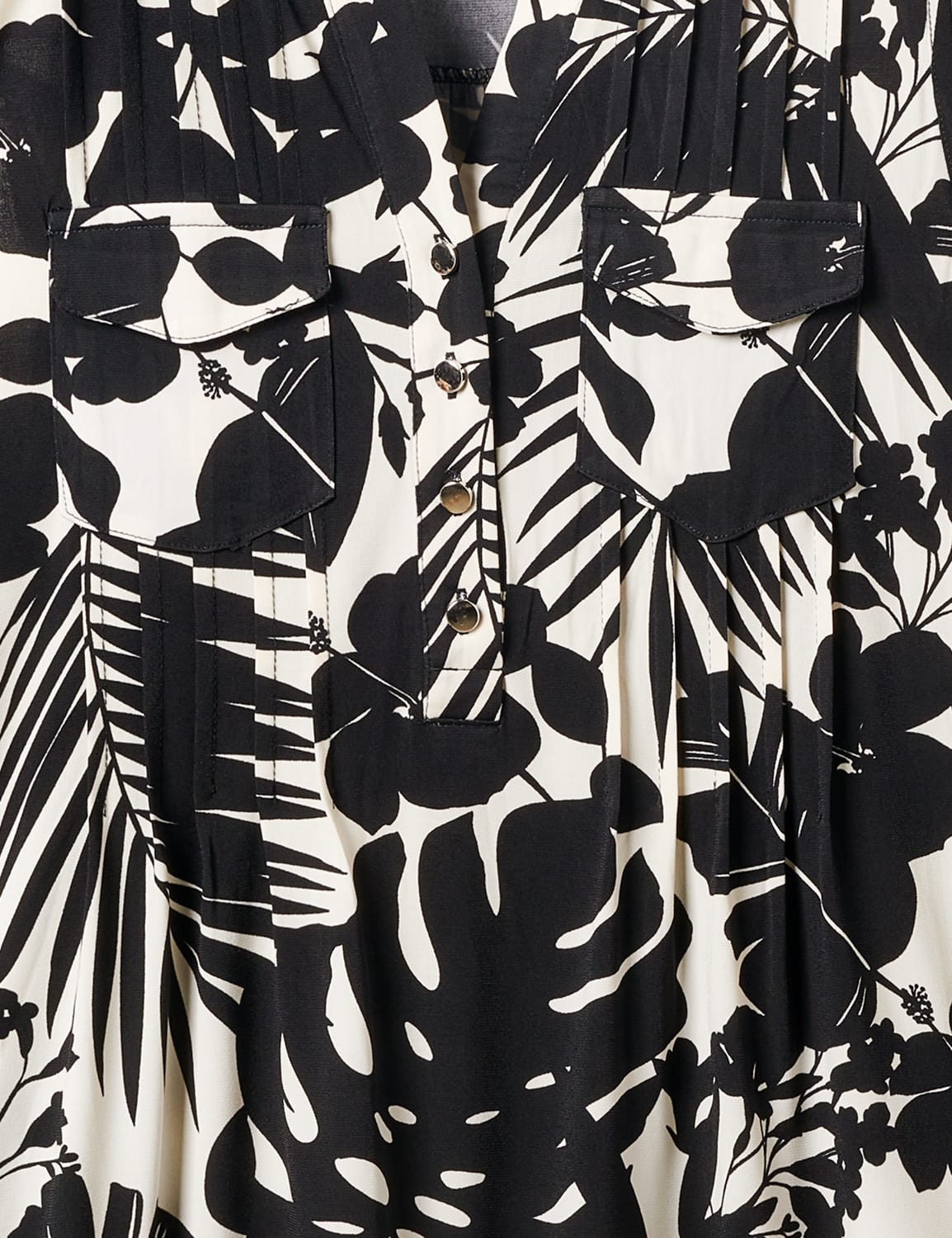 Tropical Floral Sleeveless Knit Popover - Black/Ivory - Front