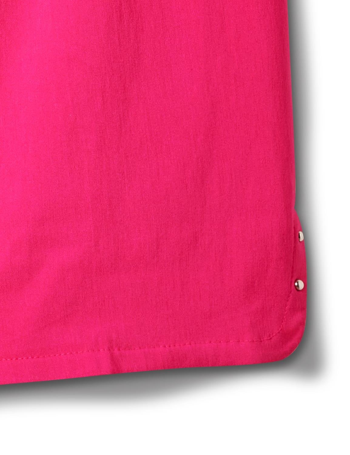 Pull on Shorts with Dome Rivet Trim - Hot Pink - Front
