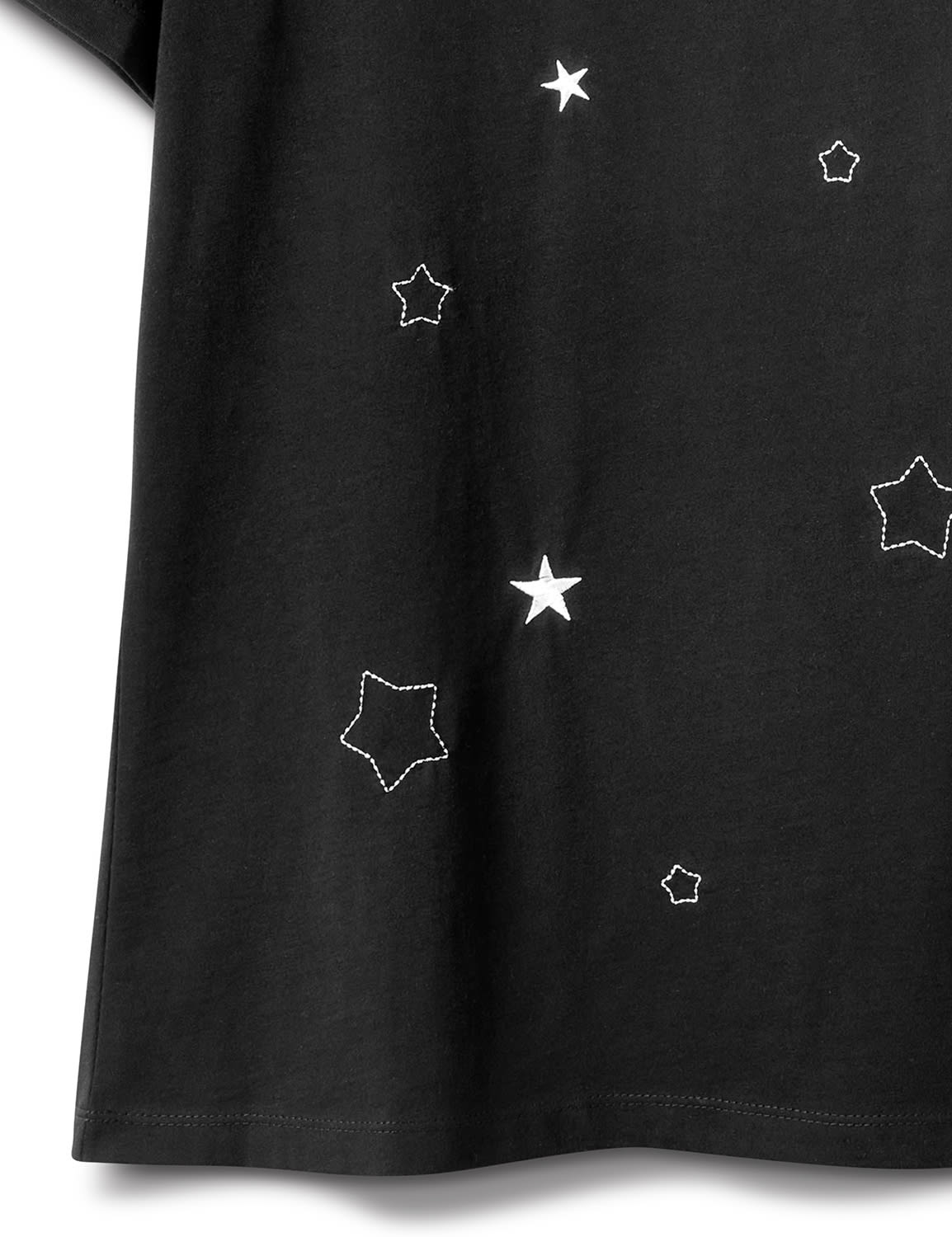 Embroidered Star Knit Tee - Black - Front