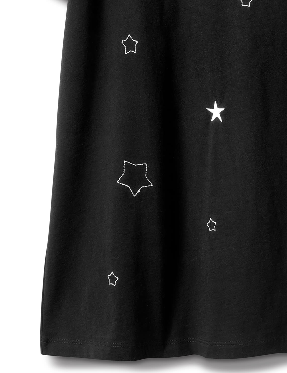 Embroidered Star Knit Tee - Plus - Black - Front