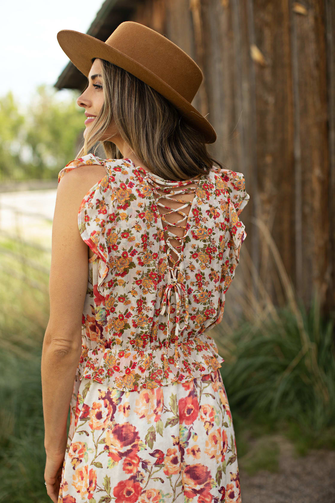 Mixed Floral With Crisscross Back - Ivory/Orange - Front