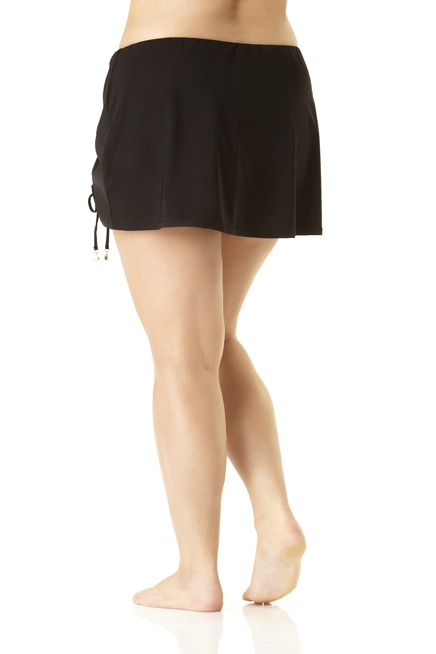Anne Cole® Live in Color Sarong Swimsuit Skirt Bottom - Plus - Black - Front