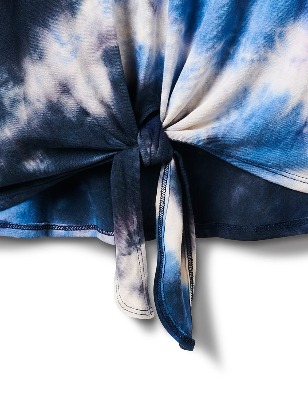 V-Neck Tie Dye Tie Front Knit Top - Misses - Navy - Front