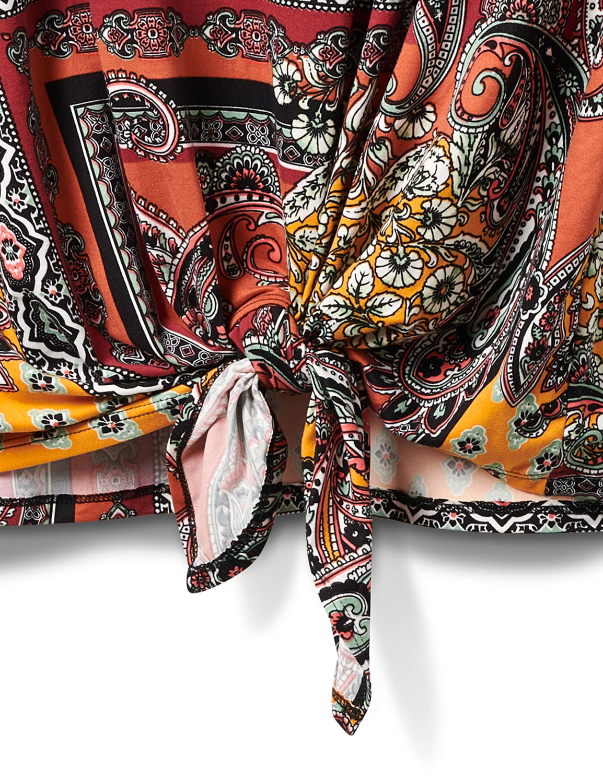 Patchwork Keyhole Tie Front Knit Top - Plus - Terracotta - Front