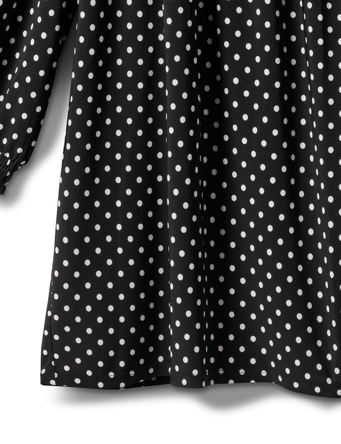 3/4 Sleeve Dot Smocked Knit Top - Plus - Black/White - Front