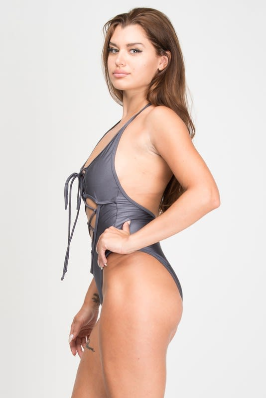 One Piece Halter Top Corset Tie Swimsuit - Grey - Front