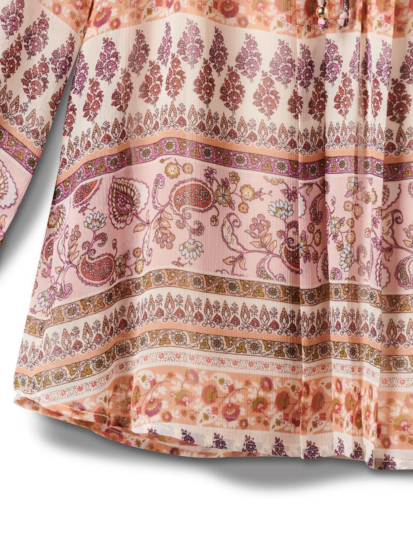 Floral Paisley Peasant Blouse-Petite - Mauve/Tan/Sage - Front