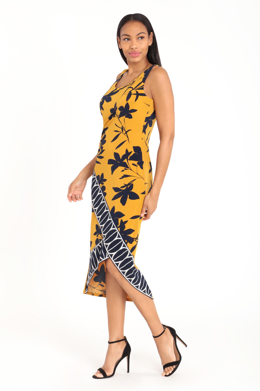 Border Print Tank Dress - Gold/Navy - Front