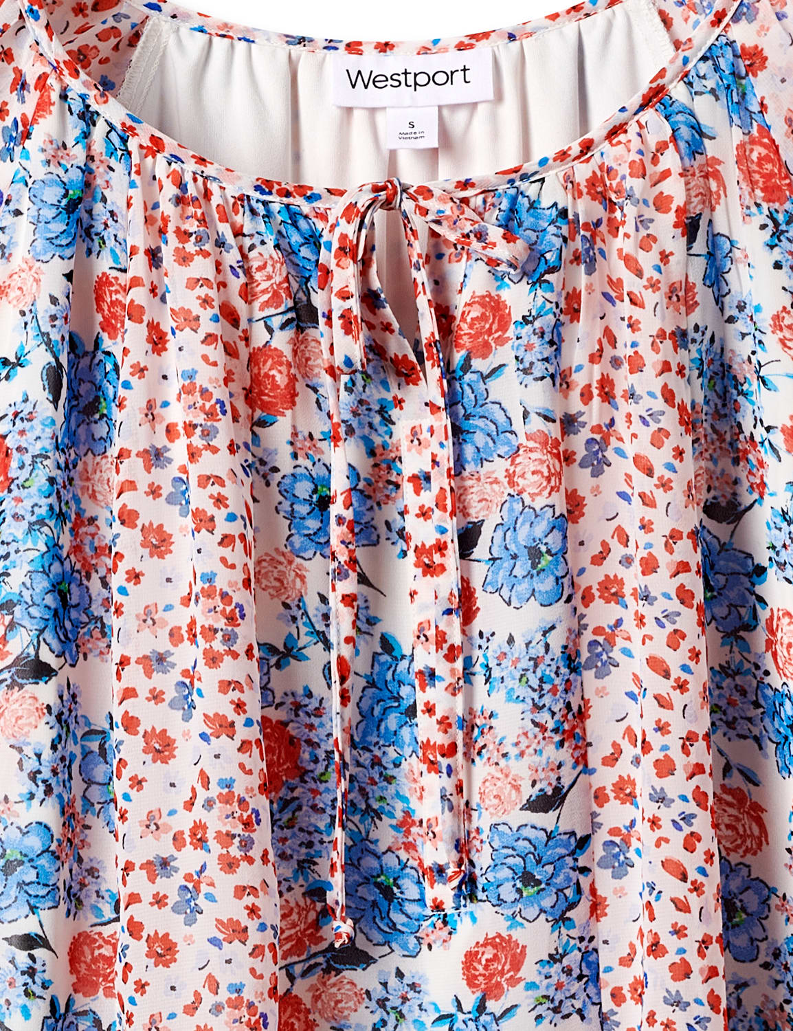 Westport Small Floral Twin Print Blouse - Red/Blue - Front