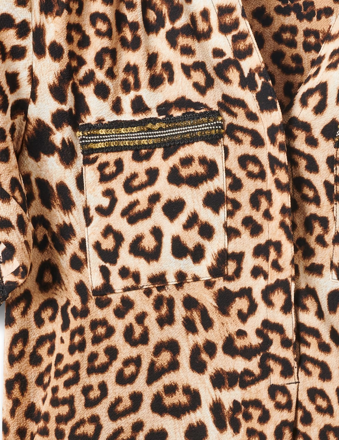 Animal Side Tie Woven Top - Misses - Black-tan - Front