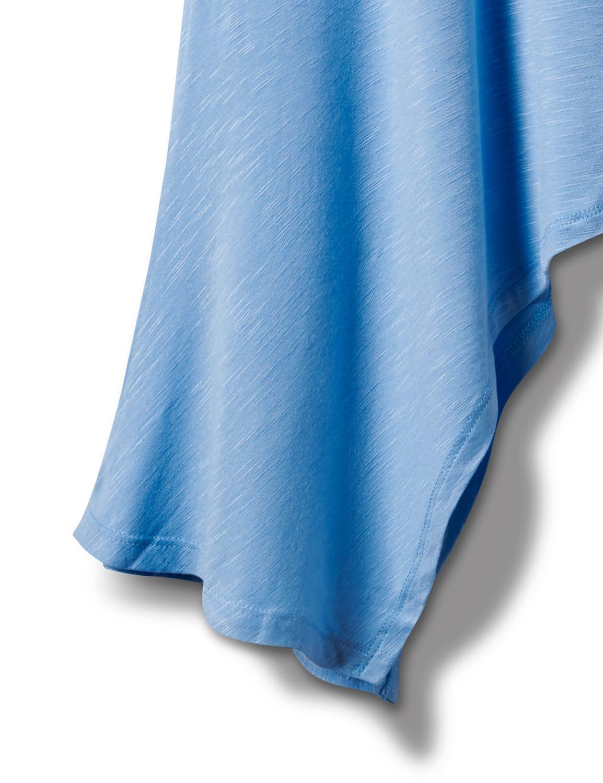 Texture Shark Bite Hem Knit Tunic - Plus - Blue - Front