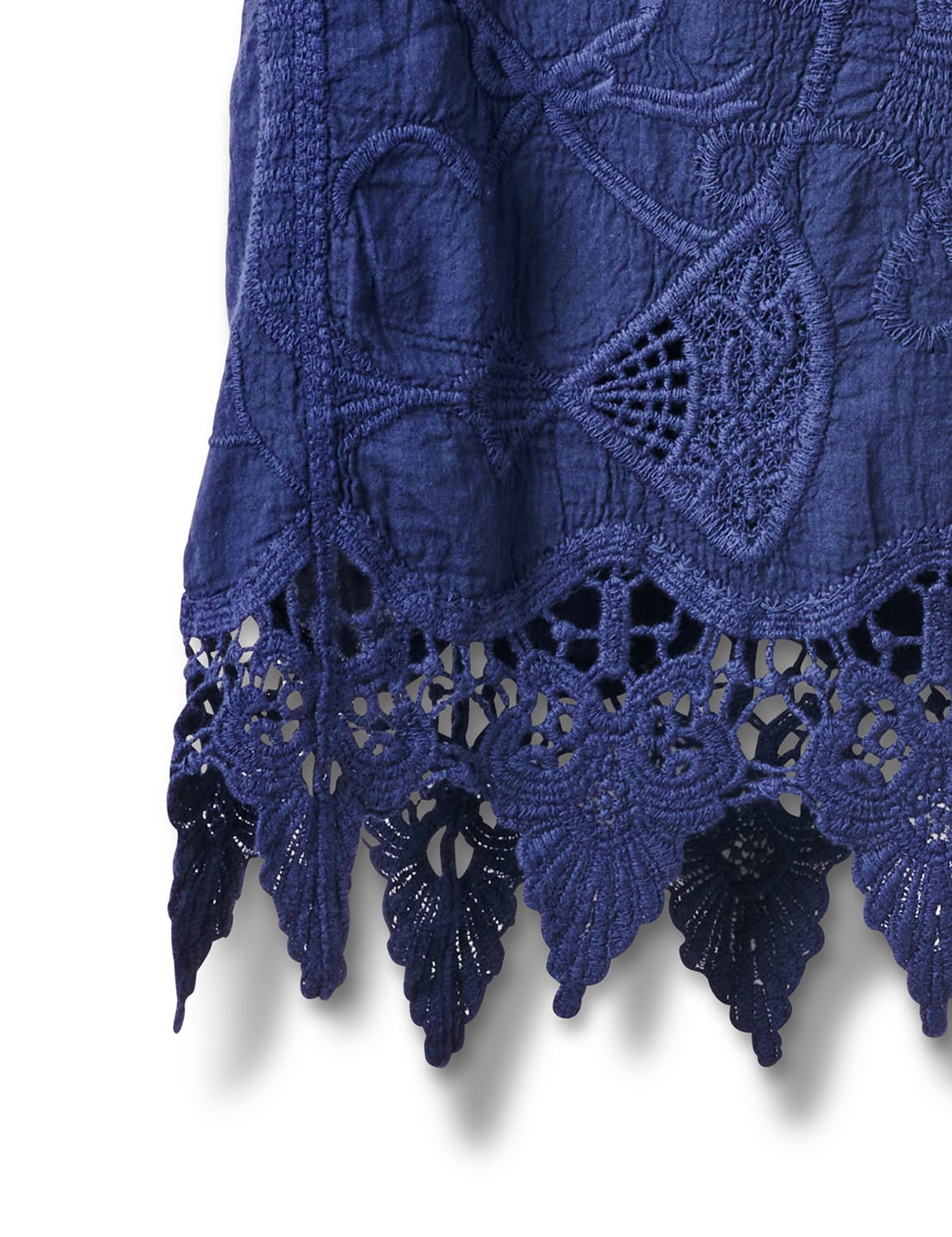 Embroidered Crochet Trim Blouse - Navy Blue - Front