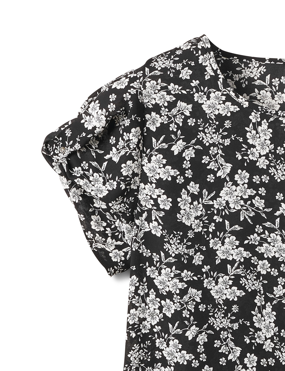 Keyhole Back White and Black Floral Blouse - White Black Floral - Front