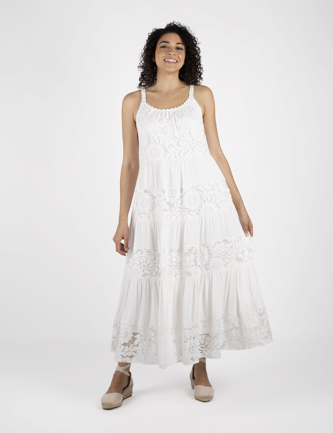 Mixed  Lace Tiered Midi Dress - White - Front