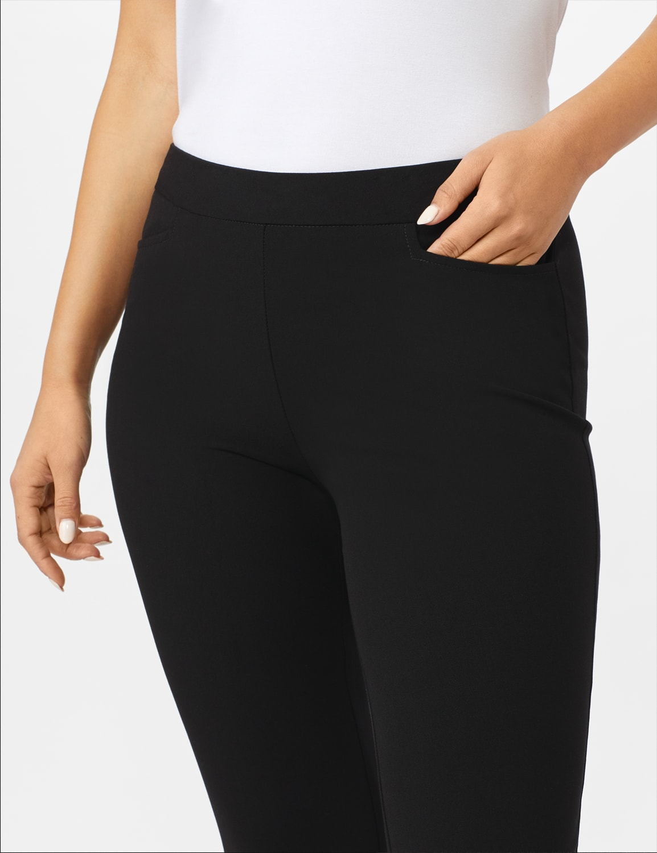 Roz & Ali Secret Agent  Pull on Tummy Control Pants with L Pockets - Average - Black - Front