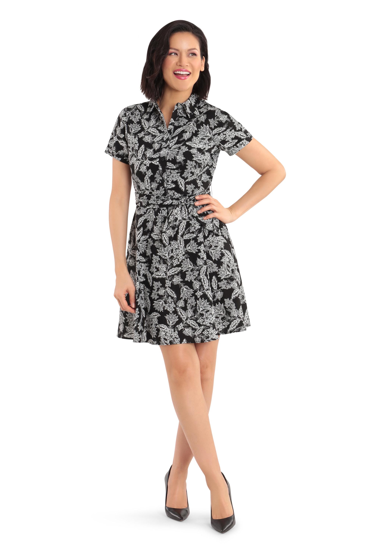 Short-Sleeves Semi-Formal Dress - Black/White - Front