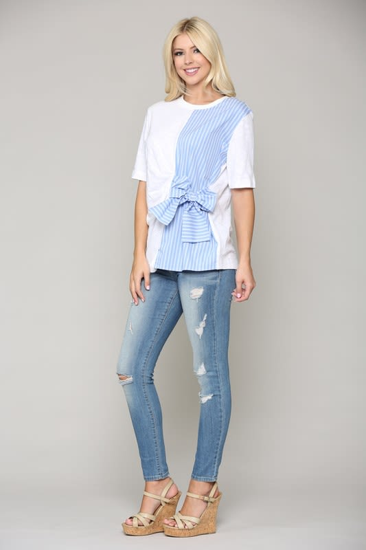 Charlotte Top W/ a Side Bow - Multi - Front
