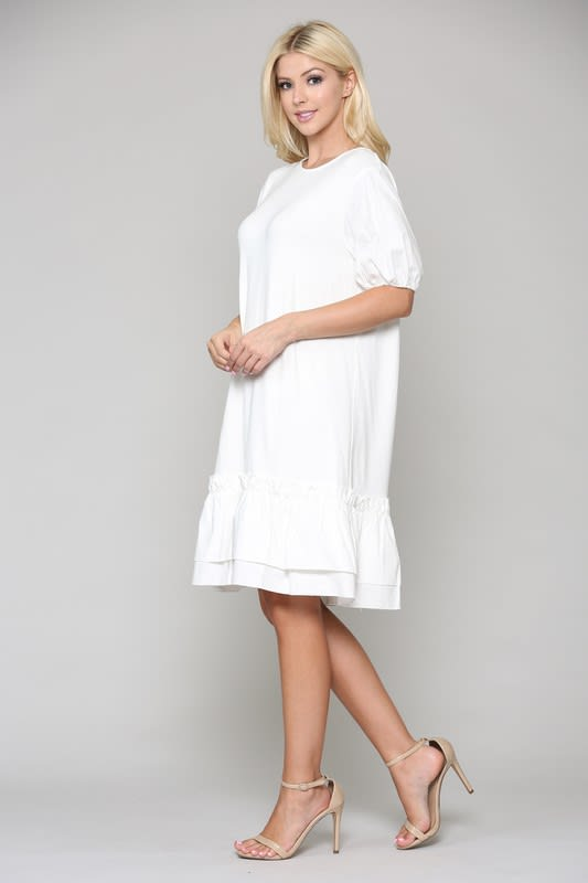 Francis Tunic Dress - White - Front