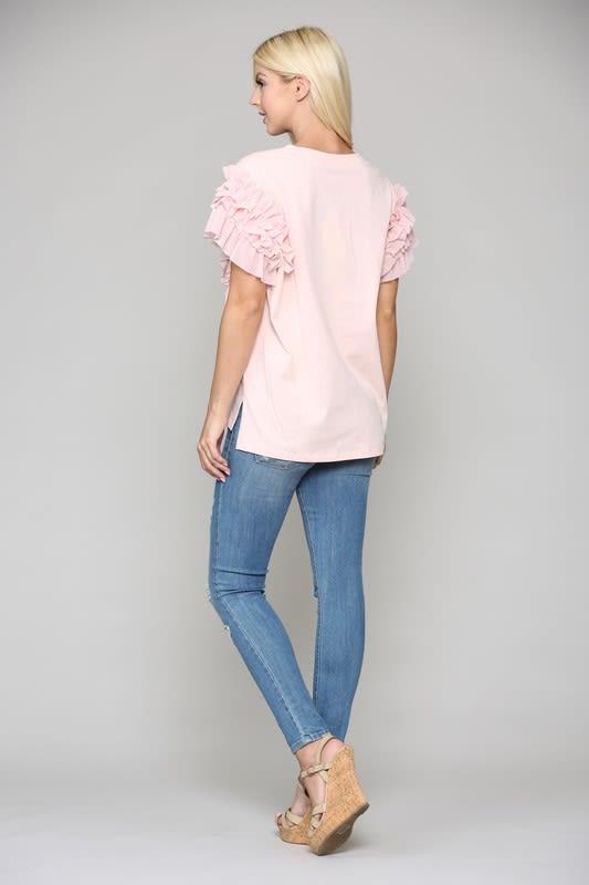 Kandice Ruffled Top - Pink - Front