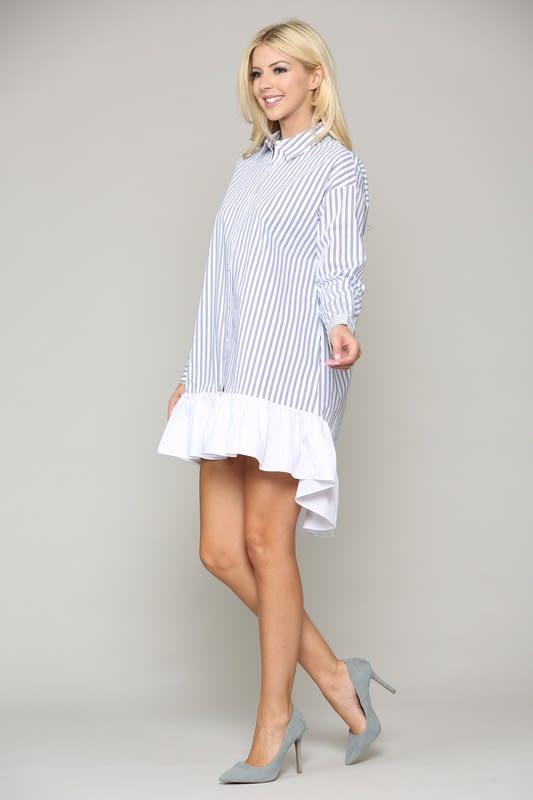 Winslet Tunic Dress - Blue stripe - Front