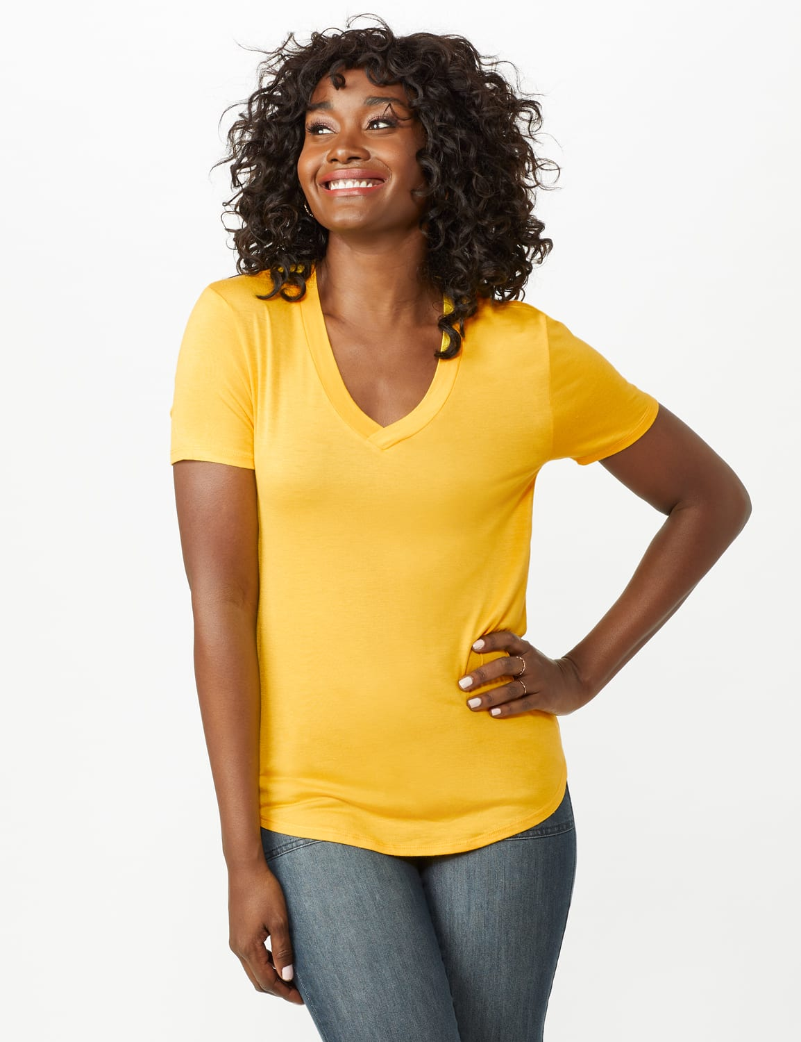 V-Neck Shirttail Tee - Gold - Front
