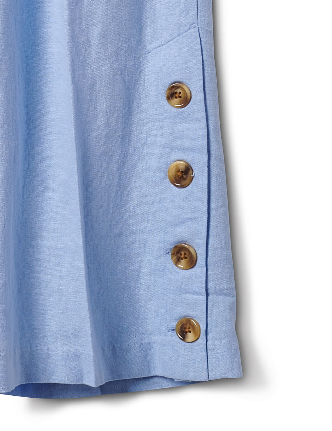 Elastic Waist Crop With Button Detail On Leg - Chambray - Front