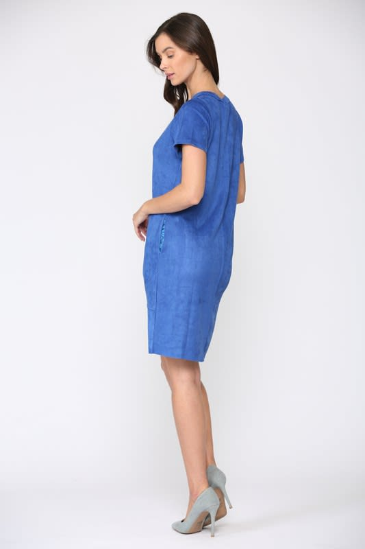 Adelyn Dress W/ Front Detailed Stitching - Cobalt - Front