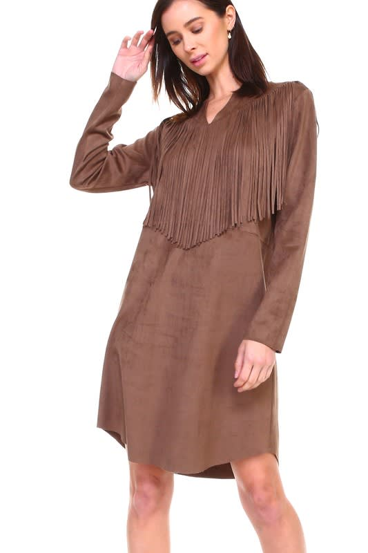 Angie Fringe Dress - Umber - Front