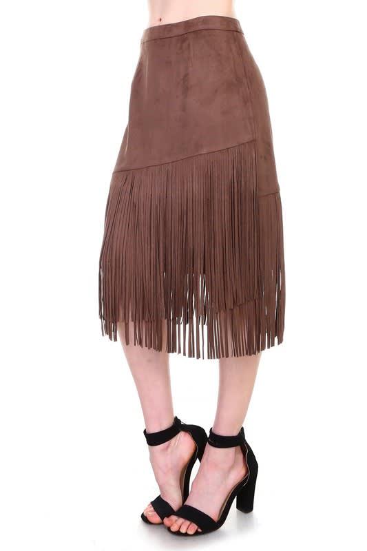 Amalia Fringe Skirt - Umber - Front